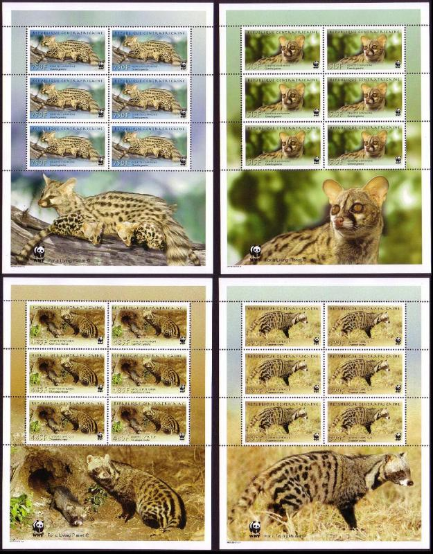 Central African Rep. WWF African Civet and Common Genet 4 Sheetlets of 6 stamps