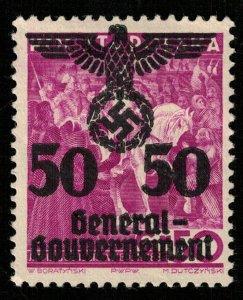1940, Reich, MNH, Polska, Overprinted, 50Gr/50ZL (T-8163)