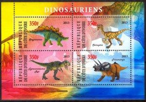 Ivory Coast 2013 Dinosaurs (1) MNH Cinderella !