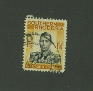 Southern Rhodesia 1937 1sh George VI Scott 51 used, Value = $3.00