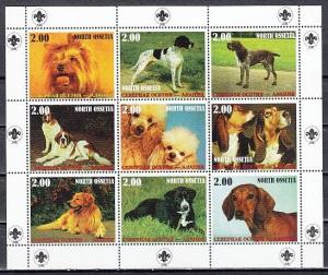 No. Ossetia, 2000 Russian Local. Dogs of the World sheet of 9.