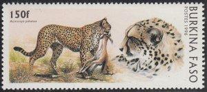Burkina Faso 1996 MNH Sc #1080 150fr Cheetah with prey