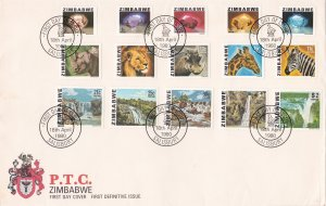 Zimbabwe # 414-428, Minerals, Animals & Waterfalls, Complete set on First Day