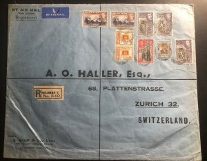 1949 Colombo Ceylon Oversized Commercial Cover To Zurich Switzerland