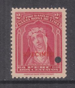 PERU, Obligatory Tax, 2c., ABN Punched Proof, SPECIMEN in Red, mnh