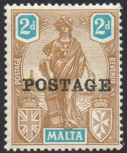 Malta 1926 2d bistre-brown and turquoise MH
