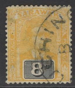 SARAWAK SG54 1918 8c YELLOW & BLACK USED