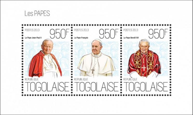 TOGO 2013 SHEET POPE BENEDICT XVI POPE JOHN PAUL POPE FRANCIS tg13614a