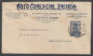 Angola Sc 258A on 1947 Advertising Cover to NY, Hexagon LUANDA CDS