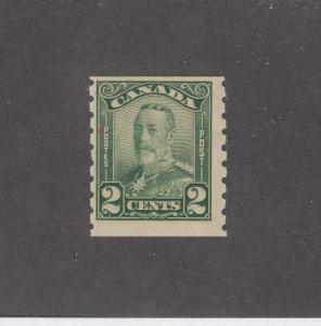 CANADA (MK1083) # 161  FVF-MNH  2cts  KGV SCROLL COIL /GREEN CAT VALUE $60