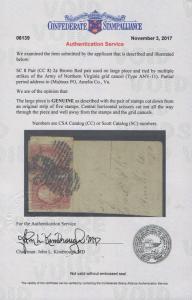 GENUINE CONFEDERATE CSA SCOTT #8 PAIR CERT TIED TO PIECE ARMY NORTHERN VIRGINIA