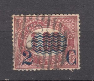 J27858 1878 italy used #41 ovpt
