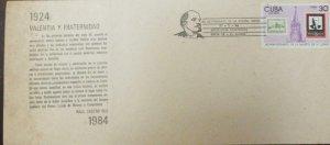 A) 1984, CUBA, 60TH ANNIVERSARY OF LENIN'S DEATH, TRIBUTE ON HILL LE