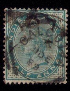 INDIA 1889 Calcutta Cacellation QV Half Anna bluish Green Shade Very Fine