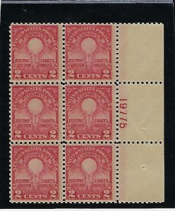 US #654  1929 ELECTRIC LIGHT -  PLATE# BLOCK OF 6  -MINT NEVER HIGED