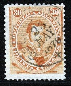 Argentina 1873 30c Orange Used. Scott 24