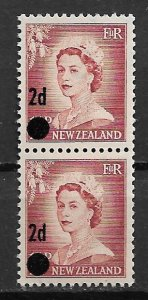 1958 New Zealand 319  Surcharged 2d over 1½ Queen Elizabeth MNH pair.
