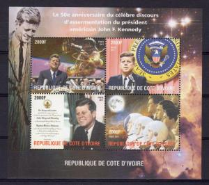 Ivory Coast 2011 John.F.Kennedy 50th.Years Peace Speech/Space/Astronauts SHLT.