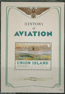 UNION ISLAND HISTORY OF AVIATION SOUVENIR SHEET  MINT NH