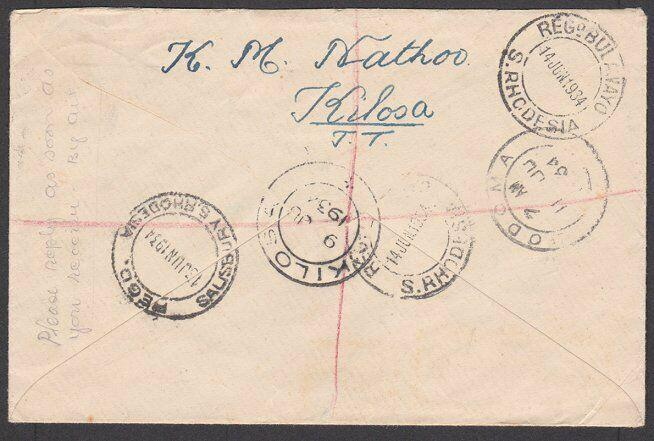 TANGANYIKA 1934 Registered cover KILOSA to Rhodesia........................27584