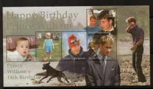 BRITISH VIRGIN ISLANDS SGMS1046 2000 PRINCE WILLIAM'S 18th BIRTHDAY MNH