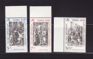 Turks and Caicos Islands 202-204 Set MNH Easter, Art (D)