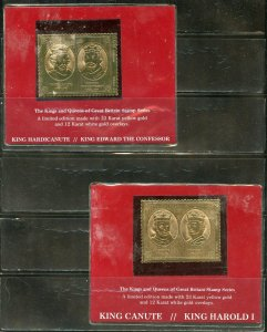 STAFFA SCOTLAND LOT OF 7  KINGS & QUEENS ENGLAND  23kt GOLD FOIL STAMPS MINT NH