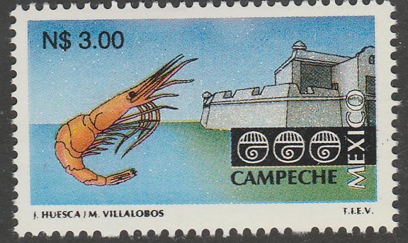 MEXICO 1798A, N$3.00 Tourism Campeche, shrimp, fortress. Mint Never Hinged F-VF.