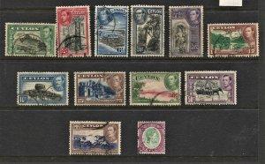 STAMP STATION PERTH Ceylon #278-289 KGVI Definitive Set FU- CV$38.00