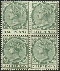 TOBAGO-1886 ½d Dull Green Block of 4 Sg 20 gum toning UNMOUNTED MINT V48549