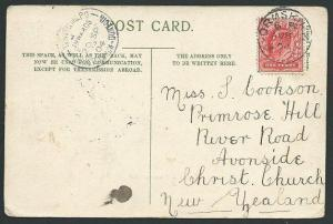 NEW ZEALAND 1904 postcard ex UK TRAVELLING PO CHRISTCHURCH - DUNEDIN cds...39688