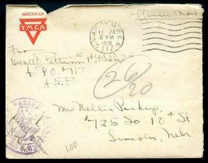 WW I 1918 Censored Serviceman's Letter Processed by Lake Steamship PO w/Encl.