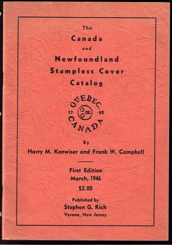 Book - Canada & Newfoundland Stampless Cover Catalogue