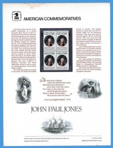 USPS COMMEMORATIVE PANEL #115 JOHN PAUL JONES #1789