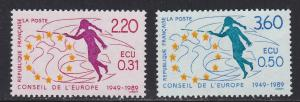 France # 1O45-46, Council of Europe 40th Anniversary, NH, 1/2 Cat.