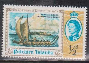 PITCAIRN ISLANDS Scott # 67 MH - QEII & Canoe