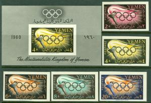 EDW1949SELL : YEMEN 1960 Sc #98-102 Olympic Imperf set & Imperf S/S MNH Cat $155