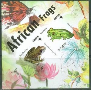 GHANA FIRST TIME OFFERED IMPERFORATED FROGS OF AFRICA SOUVENIR SHEET I MINT NH