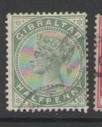 Gibraltar Sc 8 1887 1/2d Victoria stamp used