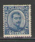 Iceland Sc 124 1921 40 a blue Christian X stamp used