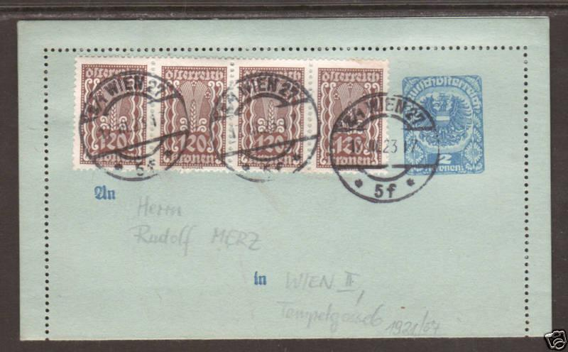 Austria Mi K57 uprated with Sc 379 strip of 4 on 1921 Letter Card