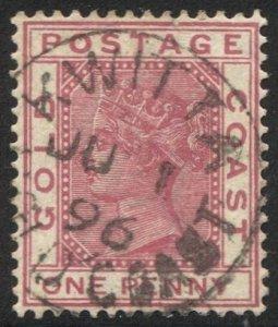 GOLD COAST 1884 Sc 13 Used 1d QV  VF, SOTN  KWITTA  1896 postmark/cancel