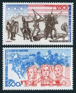 Senegal C141-C142,MNH.Michel 577-578. American Bicentennial,1976.Flag,Battle.