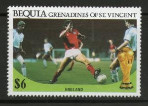 Bequia Gr. of St. Vincent 1986 World Cup Football Sc 229 England MNH # 03861