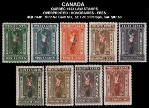 CANADA, QUEBEC REVENUE 1923 #QL73-QL81 VF SET 9 LAW STAMPS CV $87.00 MINT NO GUM