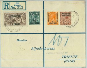 BK0232 - BRITISH Morocco - POSTAL HISTORY - Registered COVER: FEZ  to ITALY 1931