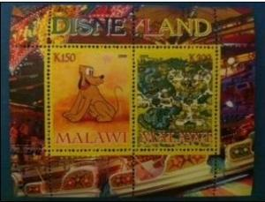 Malawi 2008 M/S Disneyland Goofy Dog Disney Cartoon Place Stamps MNH (3) perf