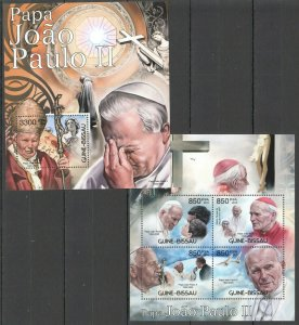 BC490 2012 GUINEA-BISSAU RELIGION GREAT HUMANISTS POPE JOHN PAUL II  BL+KB MNH