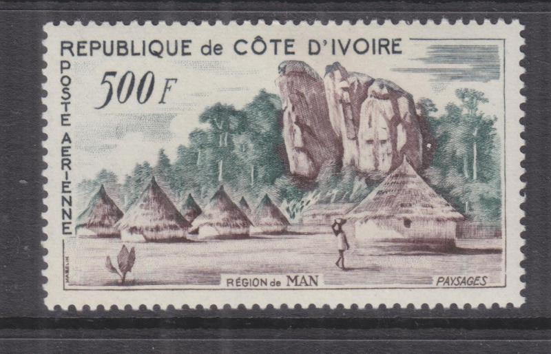 IVORY COAST, 1962, Air, Village, Man Region 500f., lhm.