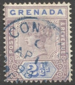 GRENADA 1895 Sc 42, Used  2-1/2d QV with blue CONCORD village cancel, Index C, F